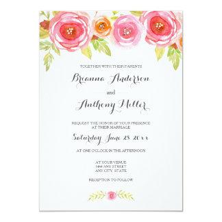 Pink Watercolor Floral Wedding Invite