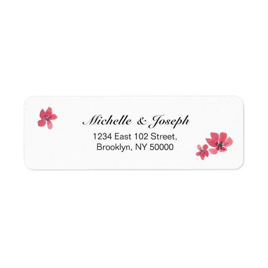 Pink Watercolor Floral Wedding Labels