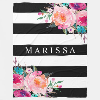 Pink Watercolor Floral White ANY COLOR Stripe Fleece Blanket