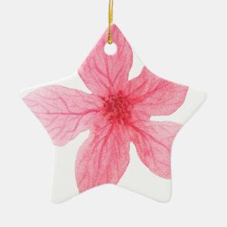 pink watercolor flower ceramic ornament