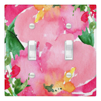 Pink Watercolor Flower Floral Summer Bright Bold Light Switch Cover