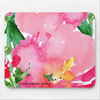 Pink Watercolor Flower Floral Summer Chic Custom Mouse Pad