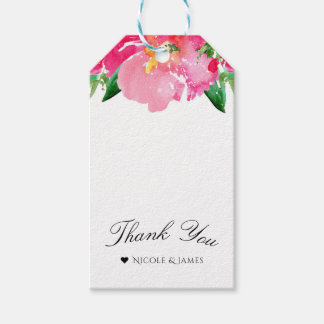 Pink Watercolor Flower Floral Summer Elegant Chic Gift Tags