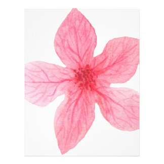 pink watercolor flower letterhead