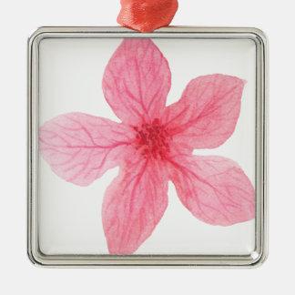 pink watercolor flower metal ornament
