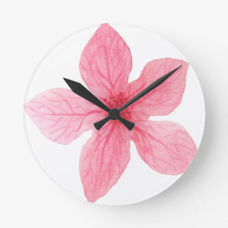 pink watercolor flower round clock