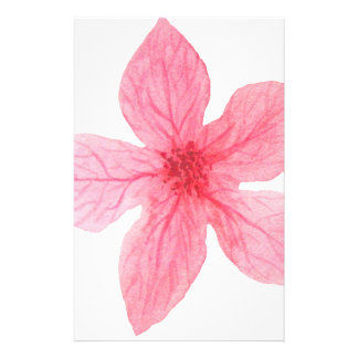 pink watercolor flower stationery