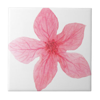 pink watercolor flower tile