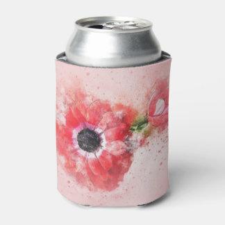 Pink Watercolor Flower w/Flower Bud Can Cooler