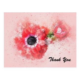 Pink Watercolor Flower w/Flower Bud Postcard