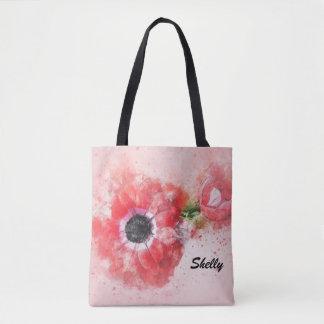 Pink Watercolor Flower w/Flower Bud Tote Bag