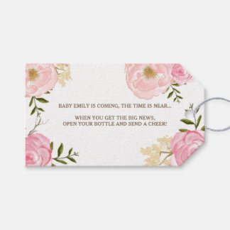 Pink Watercolor Flowers Baby Shower Gift Tag Pack Of Gift Tags