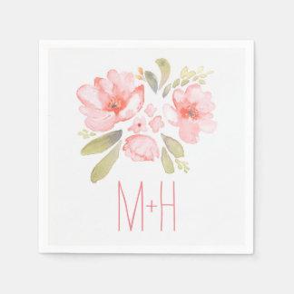 pink watercolor flowers bouquet wedding paper napkins