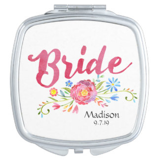 Pink Watercolor Flowers Bride Compact Mirror