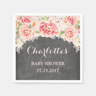 Pink Watercolor Flowers Chalkboard Baby Shower Paper Napkins