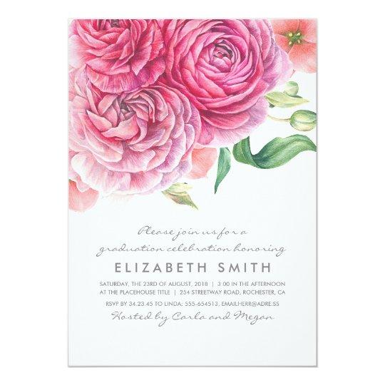 Pink Watercolor Flowers Elegant Modern Graduation Card