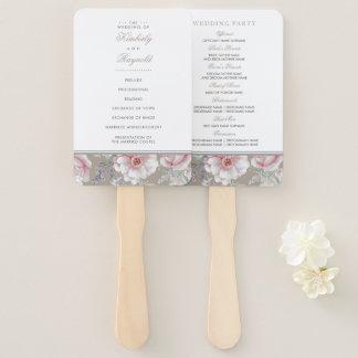 Pink Watercolor Flowers Elegant Wedding Program Hand Fan