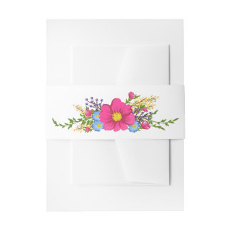 Pink Watercolor Flowers Floral Wedding Invitation Belly Band