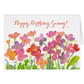 Pink Watercolor Flowers Happy Birthday Custom Name Greeting Card