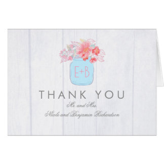 Pink Watercolor Flowers Mason Jar Thank You Card