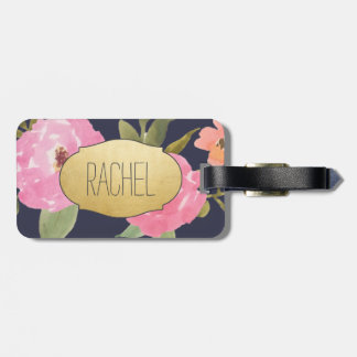 Pink Watercolor Flowers Navy Blue Faux Gold Foil Tags For Luggage