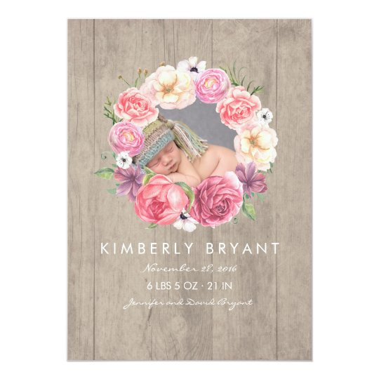 Pink Watercolor Flowers Photo Baby Girl Birth Card