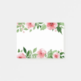 Pink Watercolor Flowers Post Its Post-it Notes