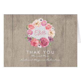 Pink Watercolor Flowers Rustic Wedding Thank You Card