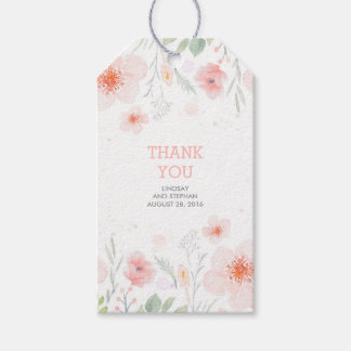 Pink Watercolor Flowers Summer Meadow Wedding Gift Tags