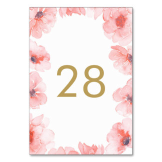 Pink Watercolor Flowers Table Number Cards