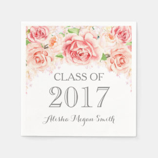 Pink Watercolor Flowers Vintage 2017 Graduation Disposable Napkins