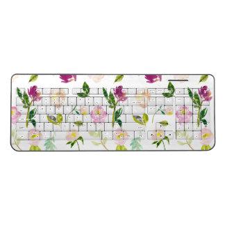 Pink Watercolor Flowers Wireless Keyboard