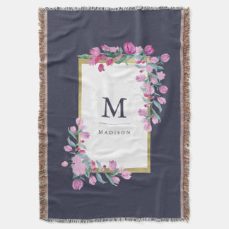 Pink Watercolor Flowers with Gold on Dark Blue Throw