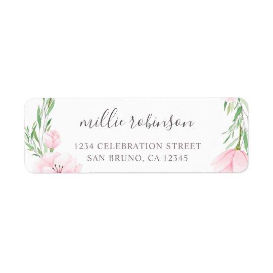 Pink Watercolor Flowers Wreath Wedding
