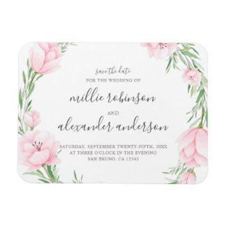 Pink Watercolor Flowers Wreath Wedding Magnet
