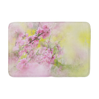 Pink Watercolor Flowers Yellow Green background Bath Mat