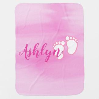 Pink Watercolor Footprint Baby Feet Name Baby Blanket
