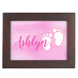 Pink Watercolor Footprint Little Baby Feet Name Keepsake Box