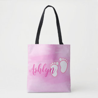 Pink Watercolor Footprint Little Baby Feet Name Tote Bag