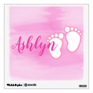 Pink Watercolor Footprint Little Baby Feet Name Wall Decal