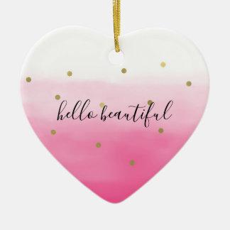 Pink Watercolor Gold Confetti Ombre Beautiful Ceramic Ornament