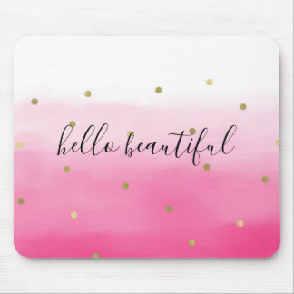 Pink Watercolor Gold Confetti Ombre Beautiful Mouse Pad