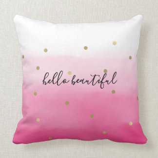 Pink Watercolor Gold Confetti Ombre Beautiful Throw Pillow