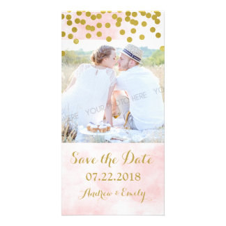 Pink Watercolor Gold Confetti Save the Date Card
