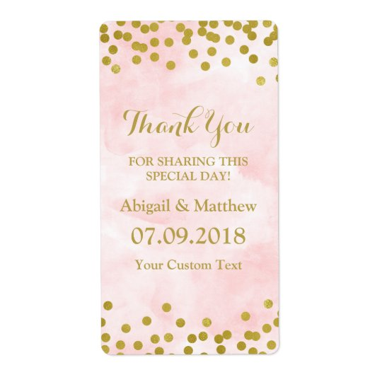Pink Watercolor Gold Confetti Wedding Labels
