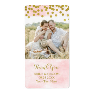 Pink Watercolor Gold Dots Photo Wedding Label Shipping Label
