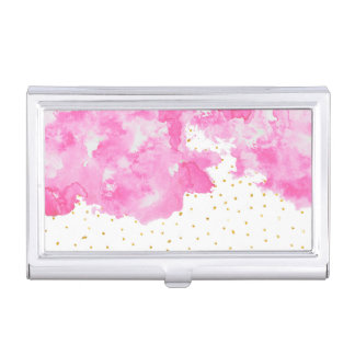 Pink watercolor gold faux glitter polka dots business card holder