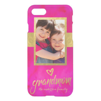 Pink Watercolor Gold GRANDMom Photo Template iPhone 7 Case