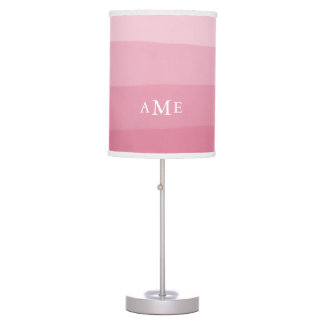 Pink Watercolor Gradient Stripe Monogram Table Lamp