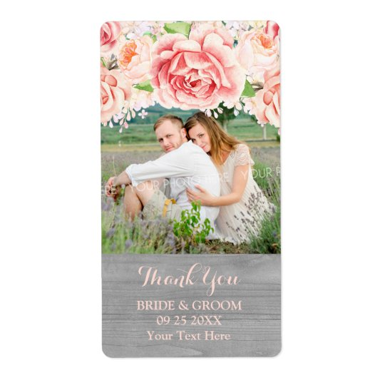 Pink Watercolor Grey Wood Photo Wedding Label Shipping Label